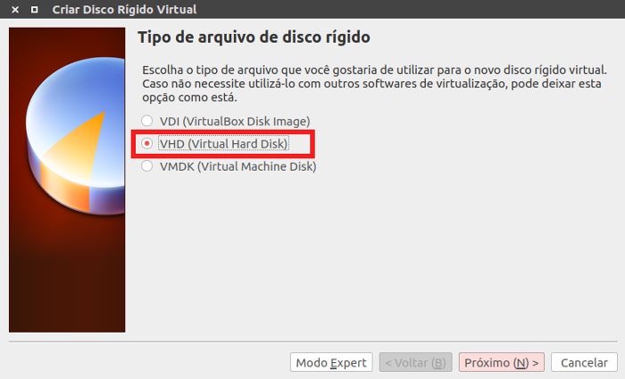 criar maquina virtual e arquivo de hd no virtual box
