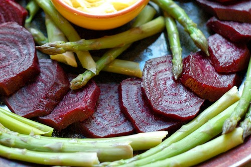 Asparagus, roasted beets and oven fries with homemade lemon aioli by Eve Fox, the Garden of Eating, copyright 2012