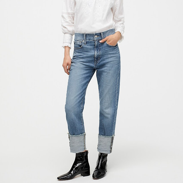 J Crew high rise slim boyfriend eco jean with tall cuff