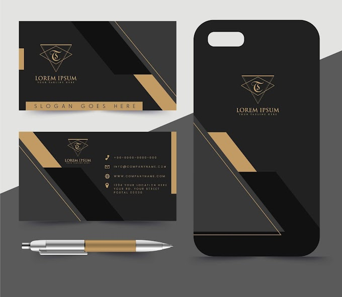 Business card template luxury dark black decor Free vector