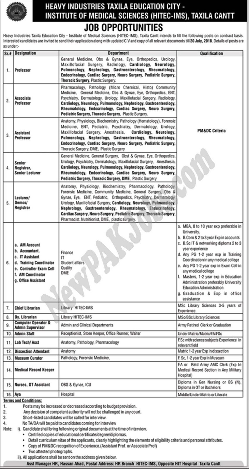 Latest Govt Jobs in Texila July 2018, Heavy Industries Taxila Education City