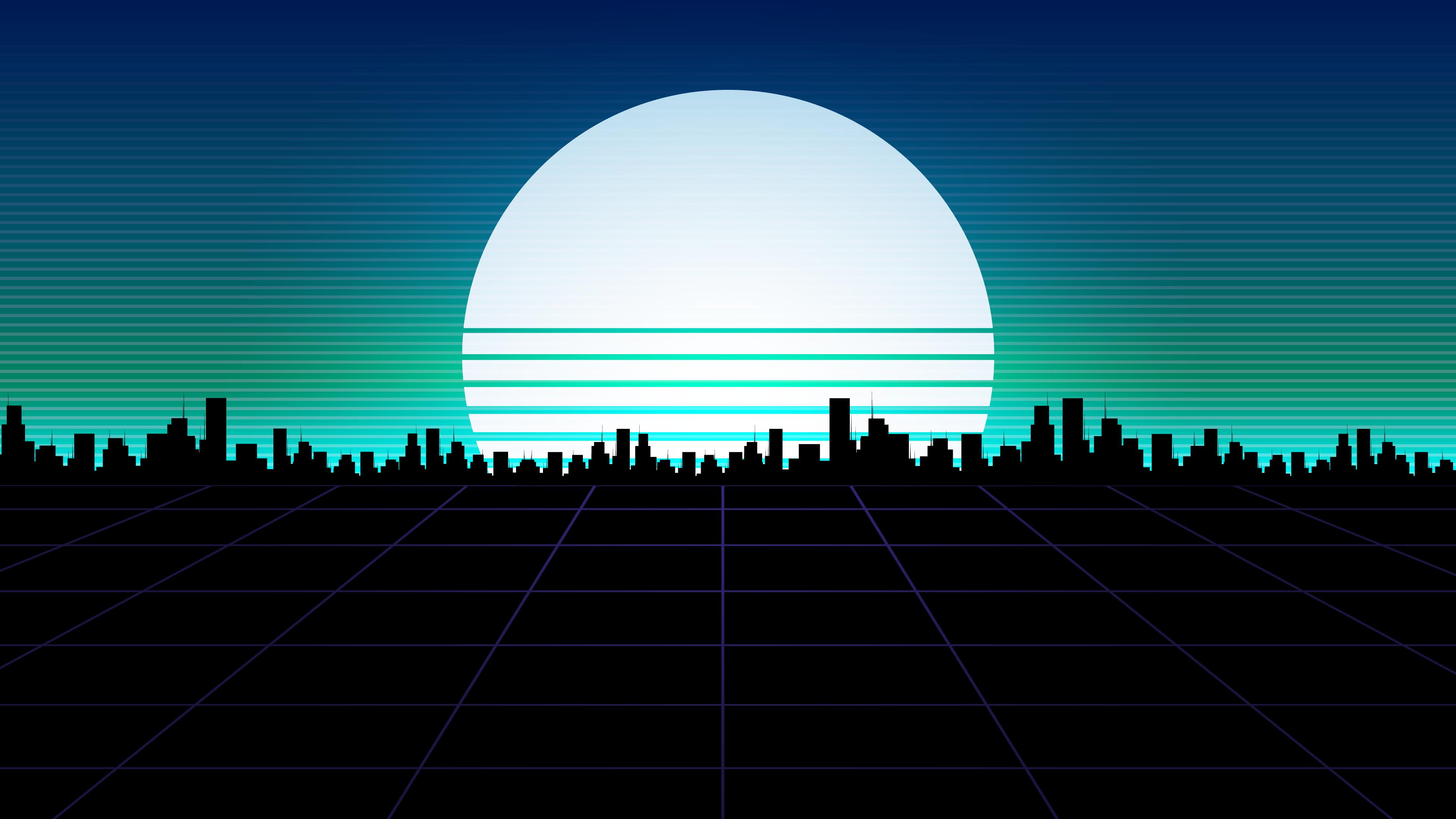 Amazing retro wave city background wallpaper 4k
