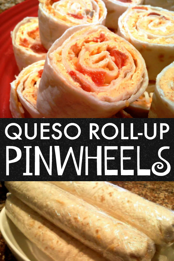 Easy and impressive tortilla roll-ups or pinwheels made with cream cheese, taco seasoning, Rotel tomatoes and chilies and cheddar cheese.