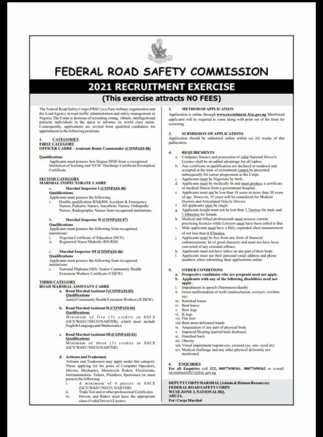 FRSC Recruitment 2021: Link To Apply For Federal Road Safety Corps FRSC Recruitment 2021