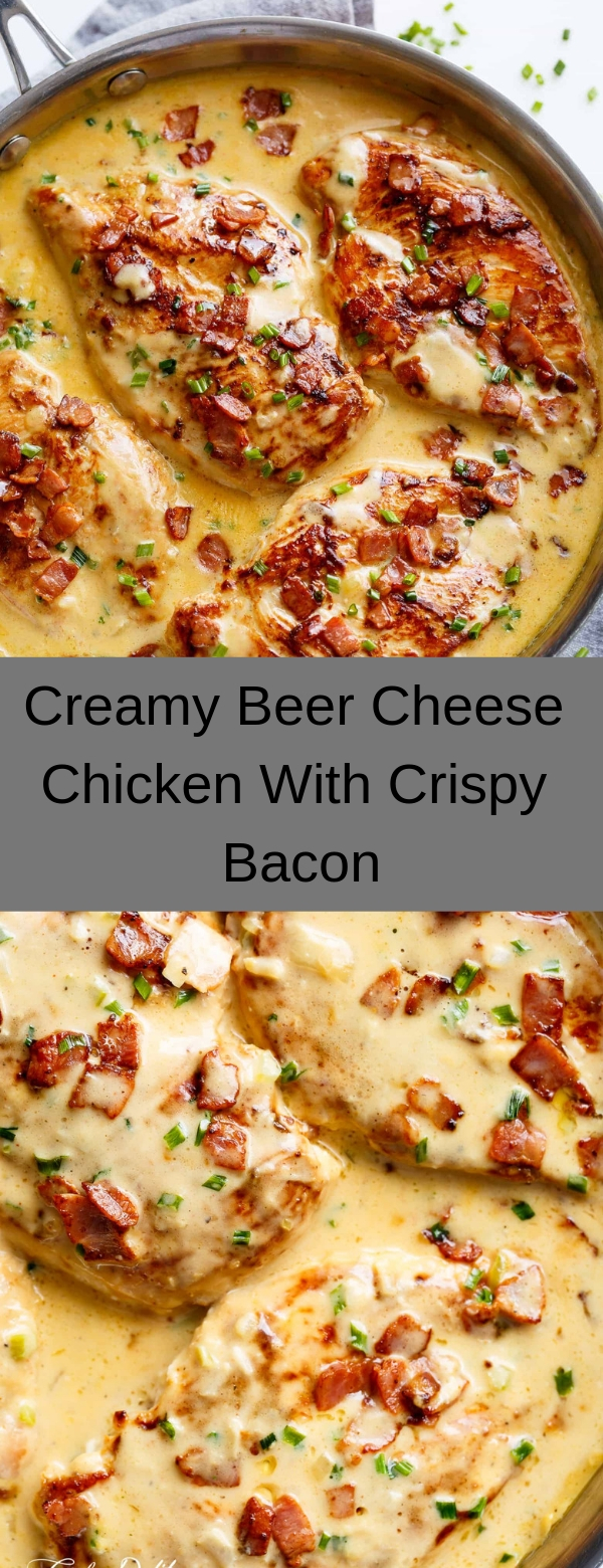 Creamy Beer Cheese Chicken With Crispy Bacon #CHICKEN #DINNER #MAINCOURSE