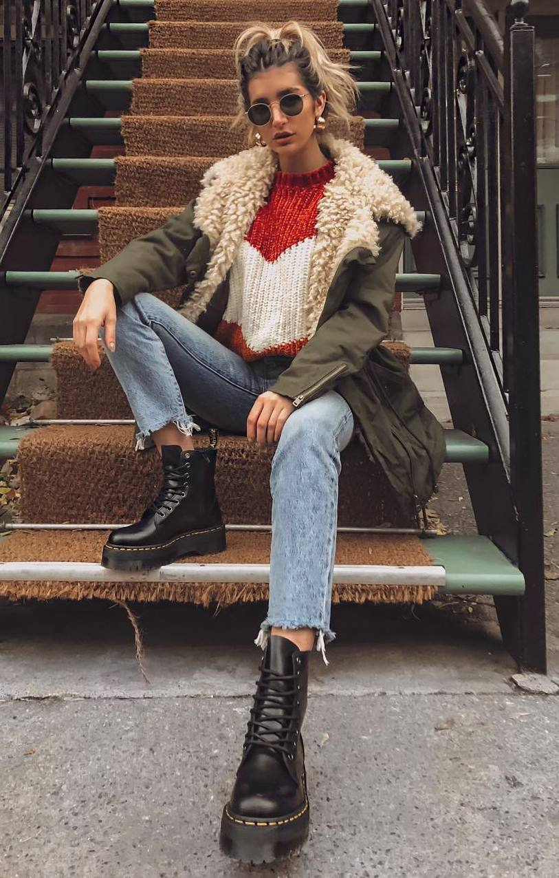 street style addiction / parka + knit sweater + boots + jeans