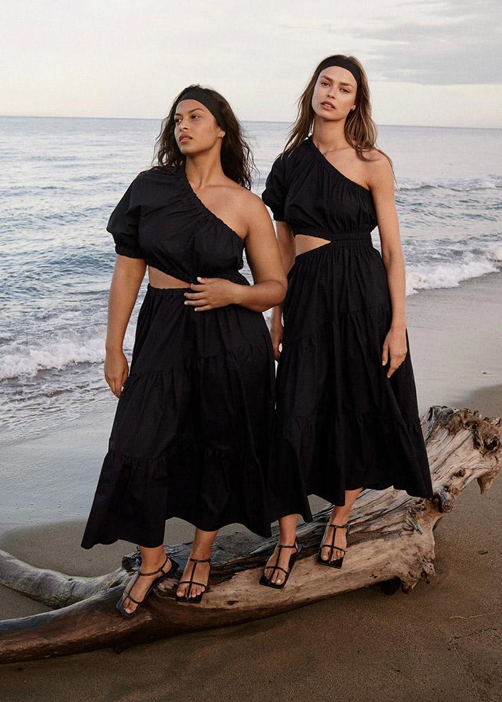 Top models Birgit Kos and Devyn Garcia pose in Mango's SS21 looks
