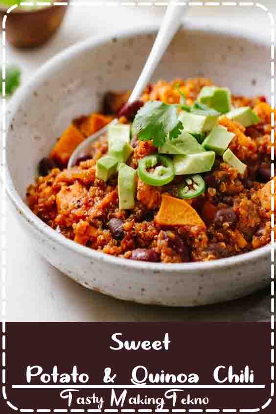 Sweet Potato & Quinoa Chili recipe... Full of protein, fiber, vitamins and minerals, this thick and hearty chili recipe is easy and always a good thing! Stovetop and slow cooker methods. Vegan, plant-based, healthy, and ready in as little as an hour. #veganchili #veganrecipes