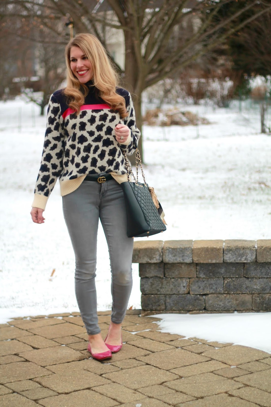leopard colorblock turtleneck sweater, grey denim, pink flats,