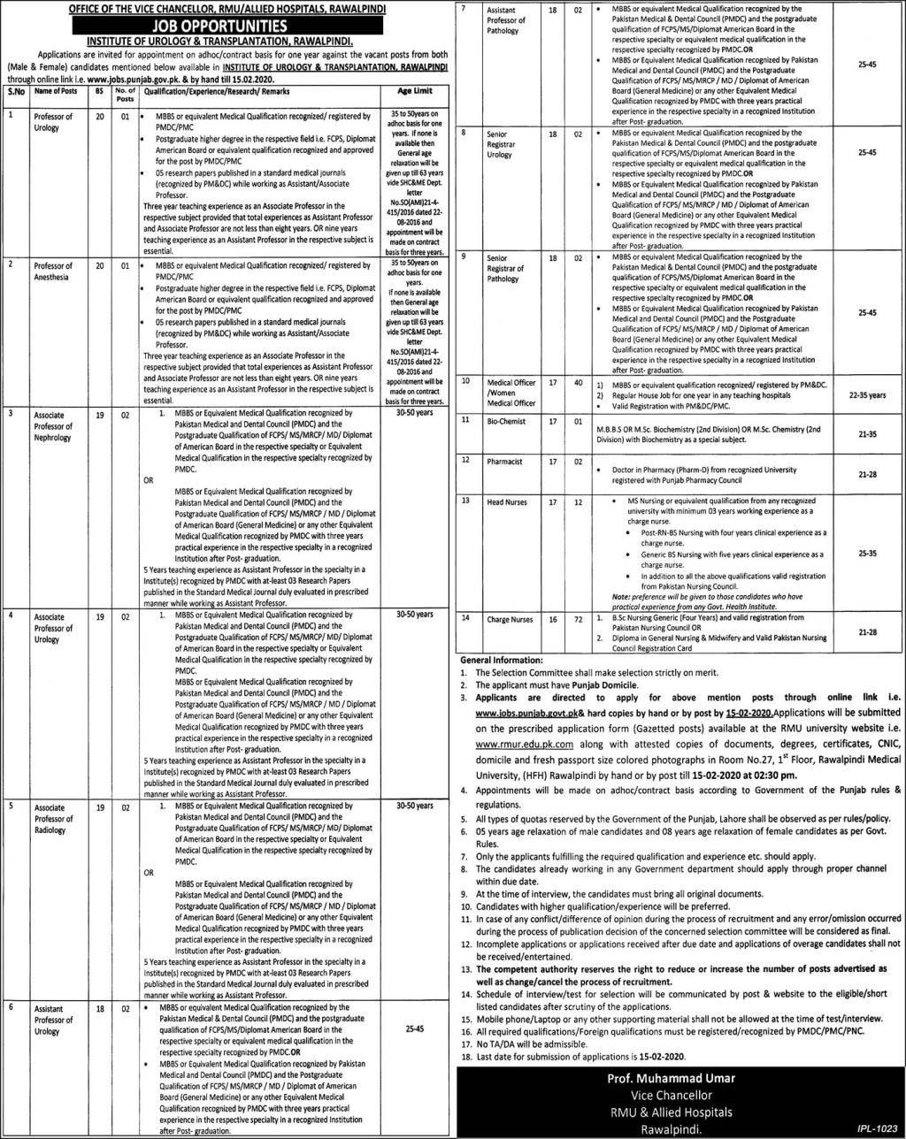 Allied Hospital Rawalpindi Jobs 2020
