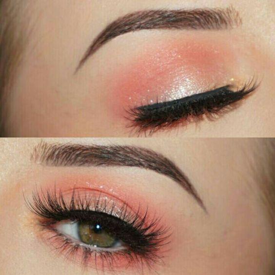make-up summer look light peach