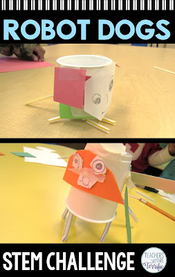 "STEM Challenge: After reading ""The Most Magnificent Thing"" students build a robot dog! Check this blog post for more!"