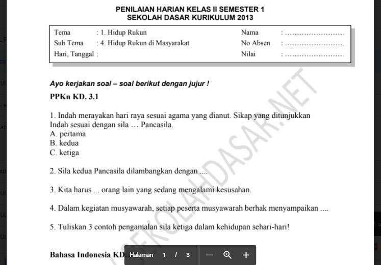 Soal Penilaian K 13 Kelas 2 Tema 1 Subtema 4 Sekolahdasar Net