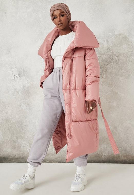 Missguided Geaca lunga de dama roz cu aspect matlasat