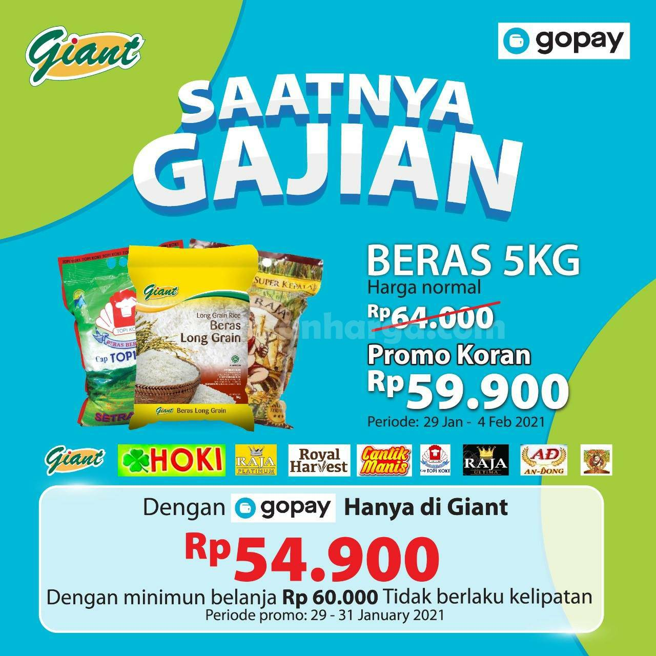 GIANT Promo Spesial GAJIAN! DISKON Aneka Beras 5 Kg hanya Rp 54.900