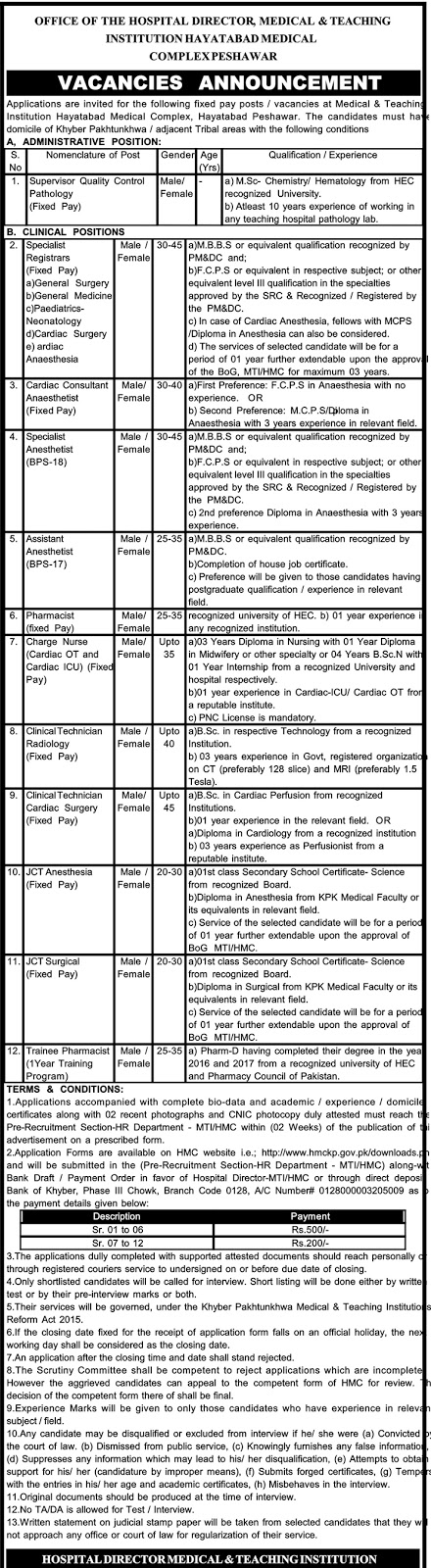Jobs In Hayatabad Medical Complex Nov 2017