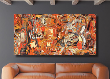 wall art, abstract art, large art, contemporary art, multi coloured art, warm colours art, large panoramic art, buy art online, Sam Freek,