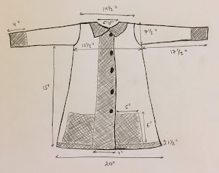 A crude sketch of a jacket for knitting