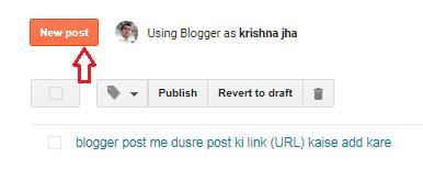 New post option in blogger