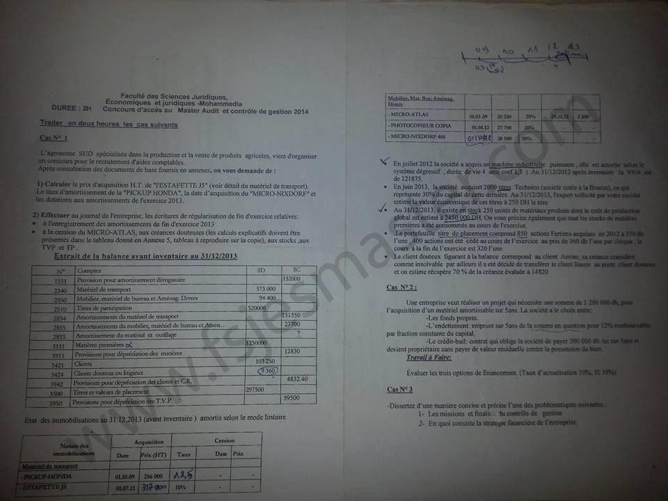 Exemple Concours Master Audit et Contrôle de Gestion 2013-2014  - Fsjes Mohammedia