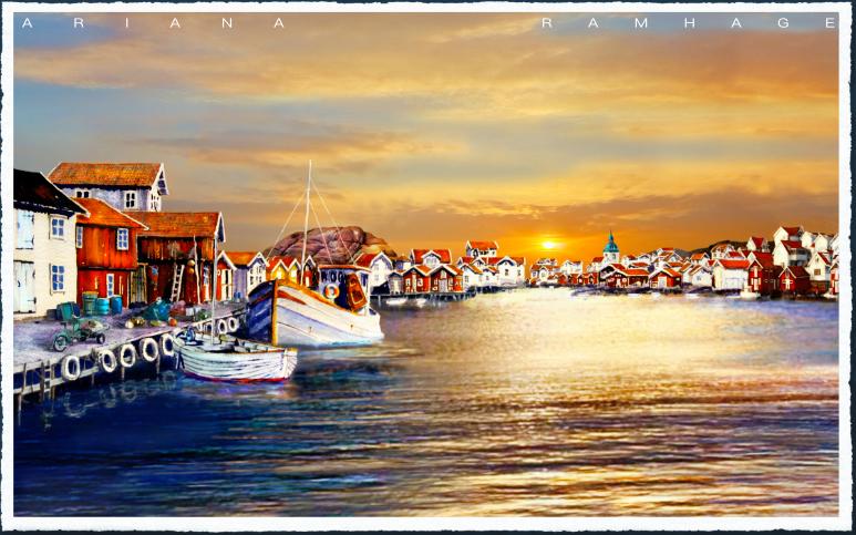 Grundsund Hamnen i solnedgången