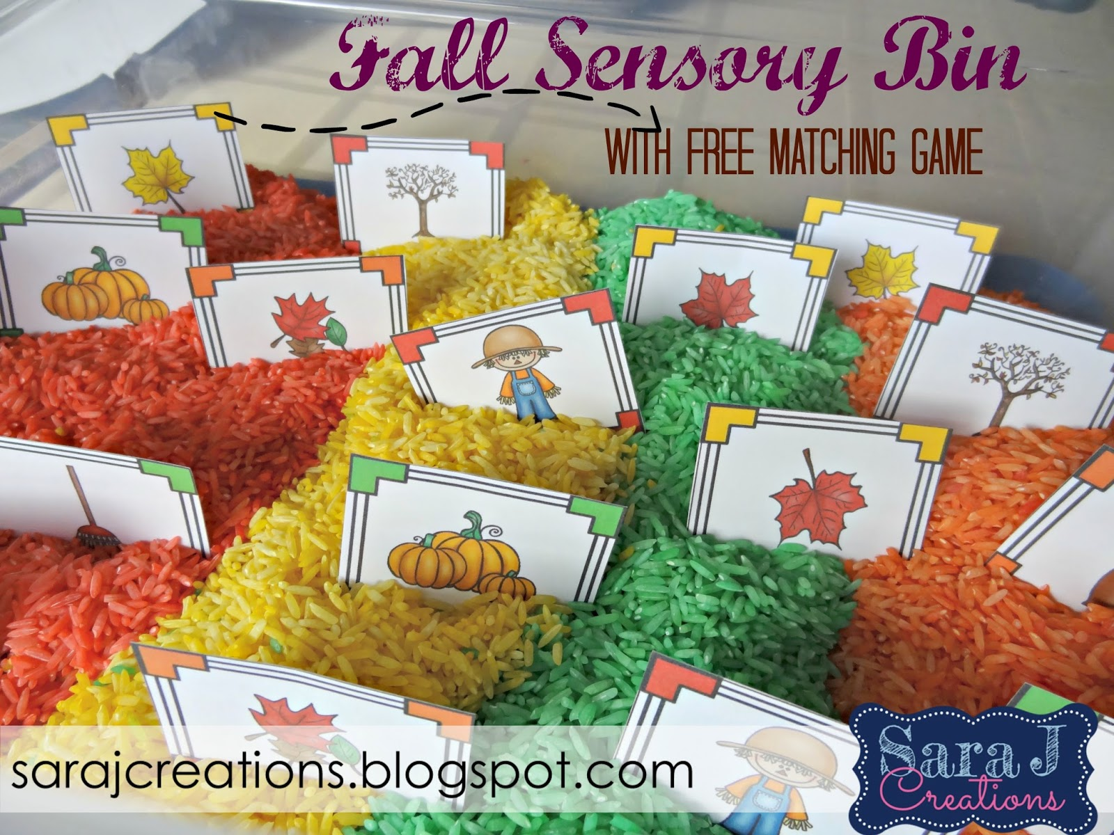 Fall sensory bin activities with free printable matching pictures card game.