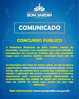 Prefeitura de Bom Jardim mantem cronograma do Concurso Publico