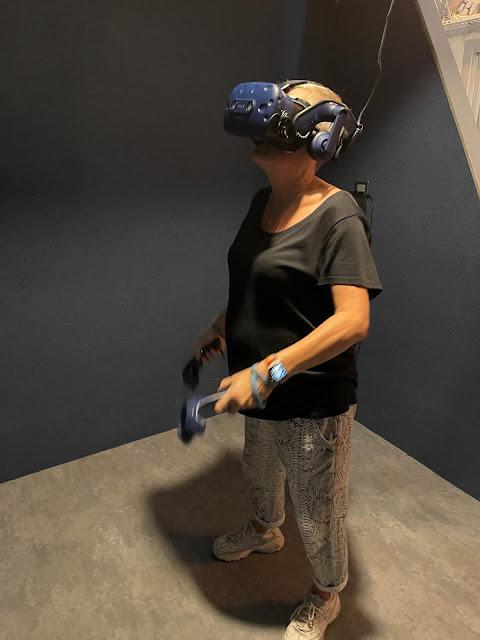 madmumof7 wearing VR gaming kit at DNA VR