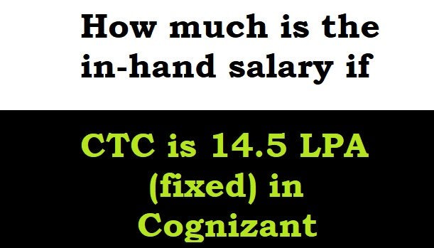 How much is the in-hand salary if the CTC is 14.5 LPA (fixed) in Cognizant