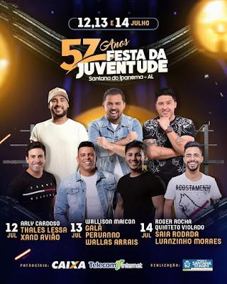 Em Santana do Ipanema, Arly Cardoso, Thales Lessa e Xand Avião abrem a primeira noite de shows na 57ª Festa da Juventude