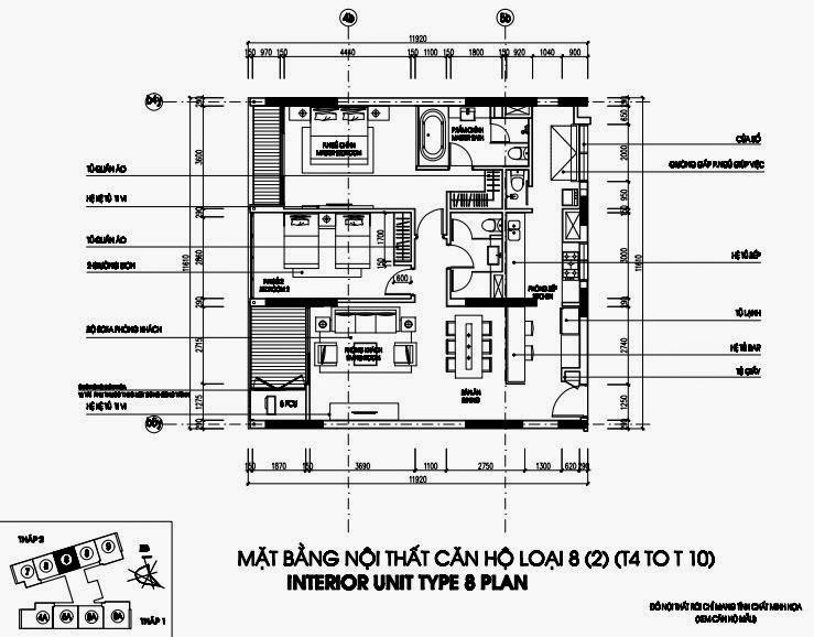 Bản vẽ thiết kế căn hộ CH8 - 133m2 Chung cư Dolphin Plaza