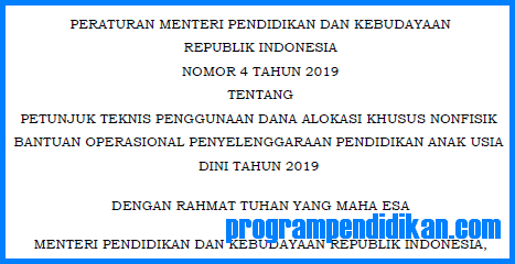 Juknis BOP PAUD 2019
