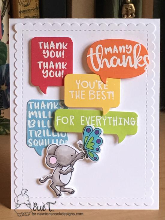 Thanks by Sue features Thankful Thoughts, Speech Bubbles, Garden Mice, and Frames & Flags by Newton's Nook Designs; #newtonsnook