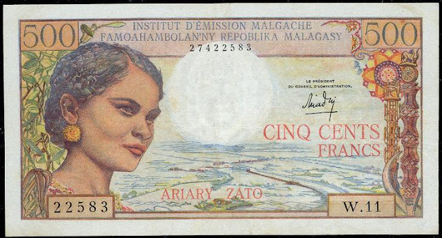 Madagascar banknotes currency 500 Francs Malagasy francs