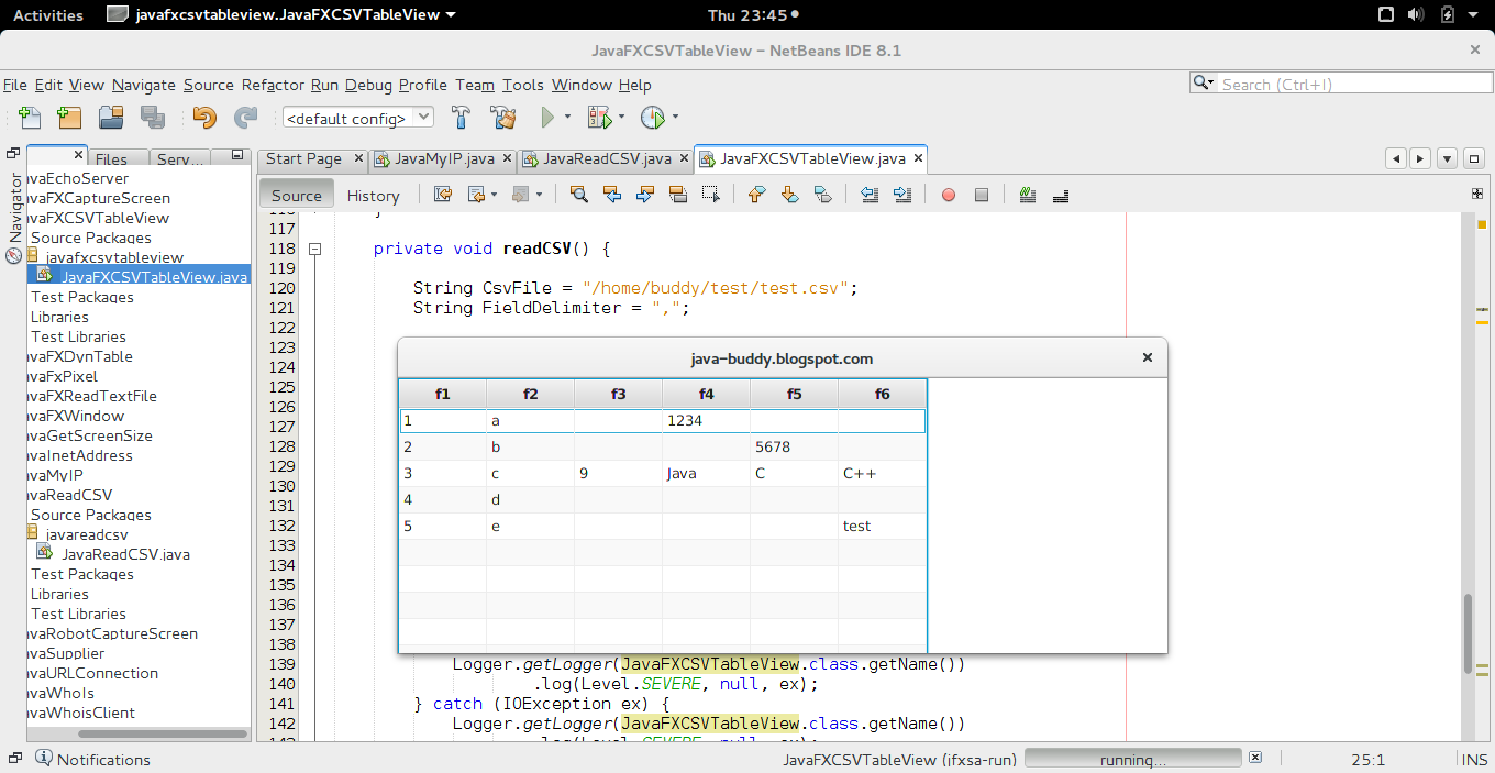 Java-Buddy: Read csv file, display in JavaFX TableView