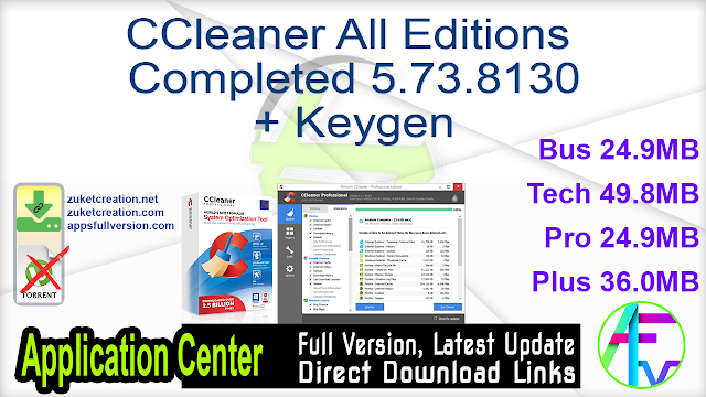 Ccleaner All Editions Completed 5 73 8130 Keygen Application Full Version