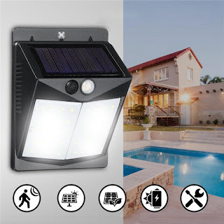 Solar 40 LED Wall Light PIR Motion Waterproof Outdoor Wide Angle Security Lamp
