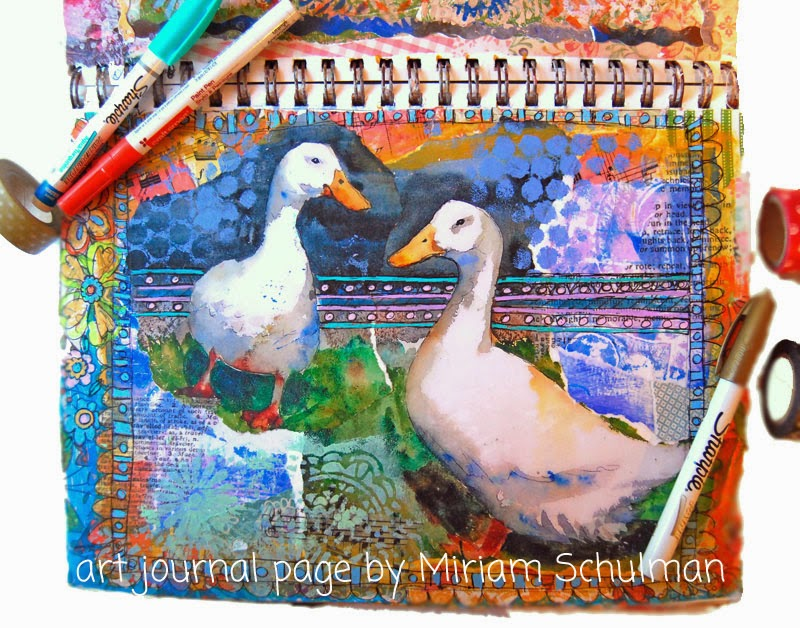 art journal ideas on http://schulmanart.blogspot.com/2015/03/art-journal-ideas-animal-art.html