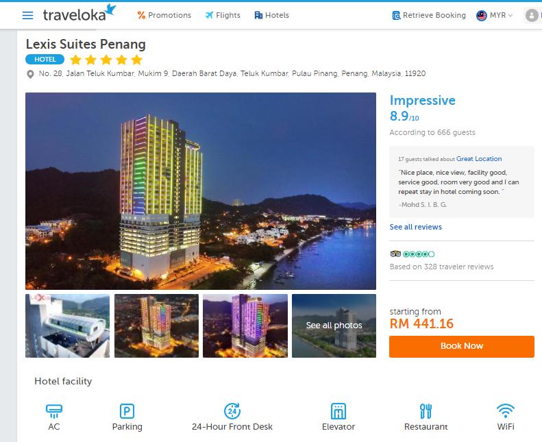 Bercuti Hari Kebangsaan di Hotel Lexis Suites, Penang