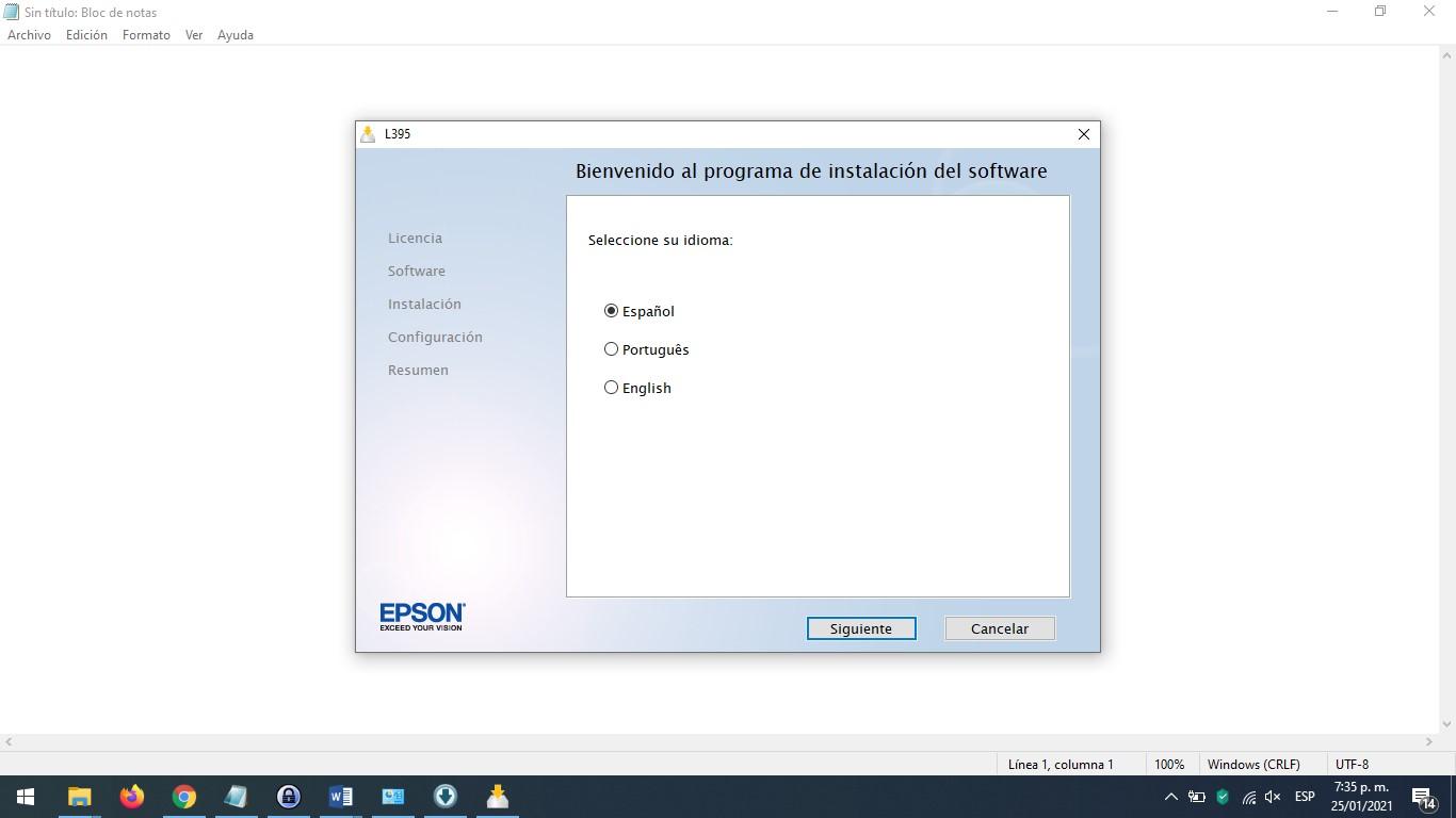selección de lenguaje Epson