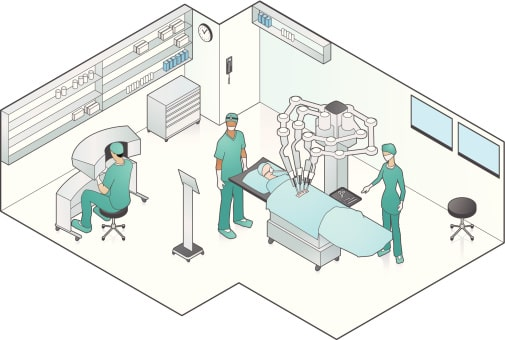 Medical Robots - A robot try to surgery of patent with doctors