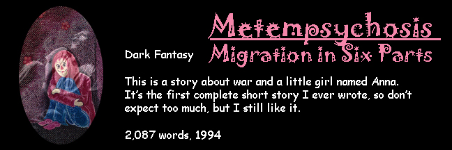 Banner Link for Gori Suture's short story Metempsychosis - Migration in Six Parts