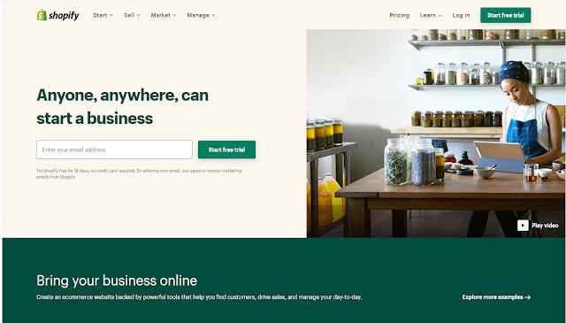 انشاء متجر الكتروني مجاني علىShopify
