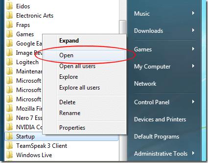 how use startup folder windows