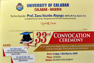 UNICAL 33rd Convocation Ceremony Programme of Events 2019