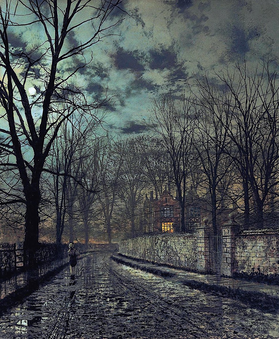 a John A. Grimshaw painting of a maid carrying something towards the manor house on a wet road at night