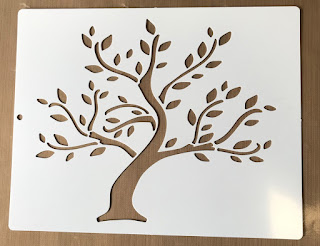 image of a tree stencil, plastic stencil of tree