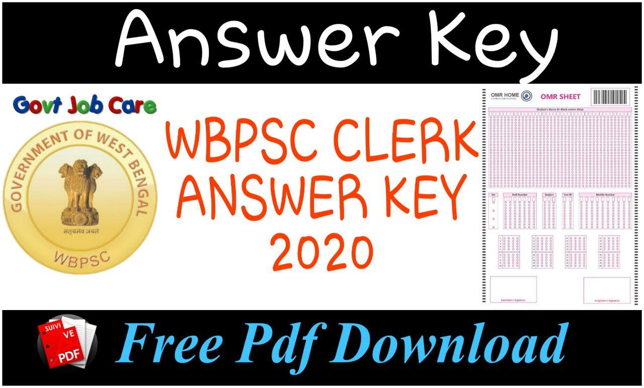Wbpsc Clerk Exam Answer Key 2020