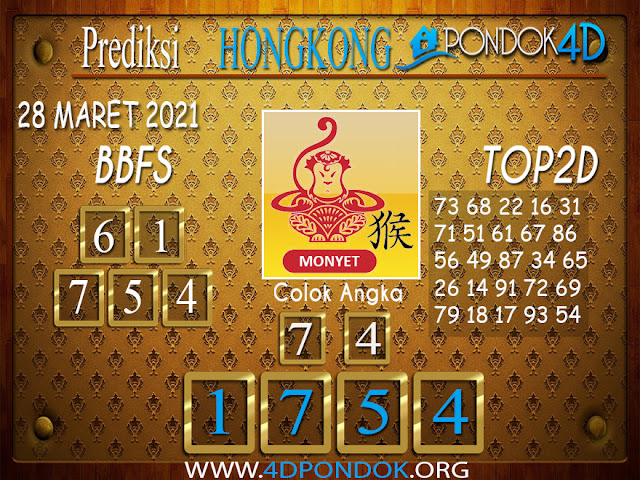 Prediksi Togel HONGKONG PONDOK4D 28 MARET 2021