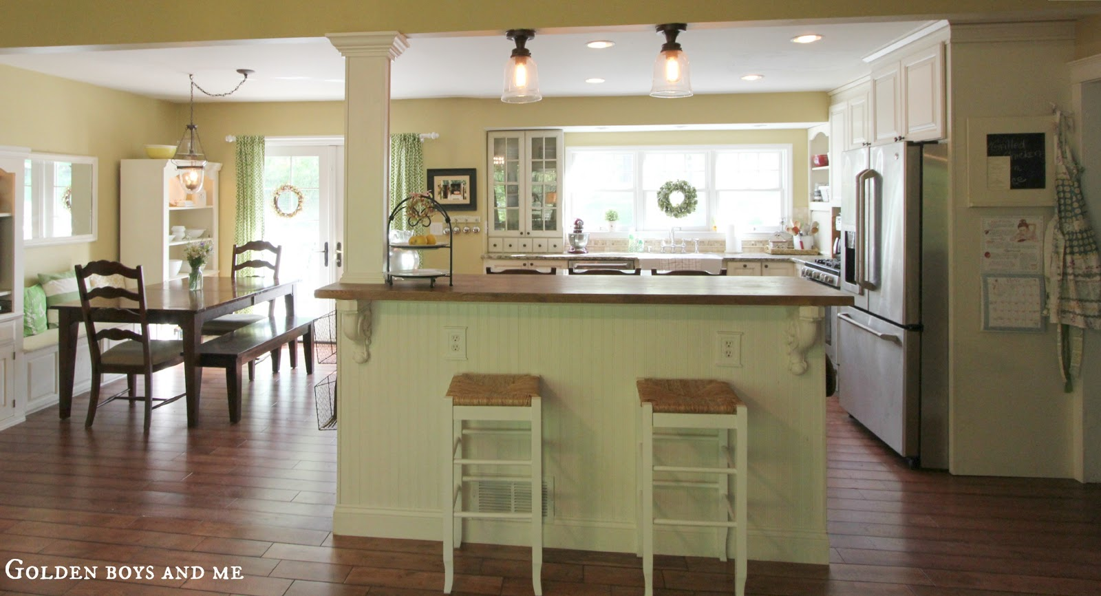 Golden boys and me kitchen island ikea hack - Kitchen island with post ...
